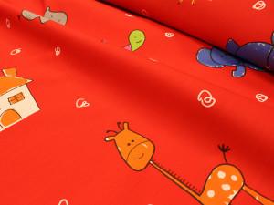 00550 300x225 Cotone Animali Rosso   taglio 2,30 x 2,80